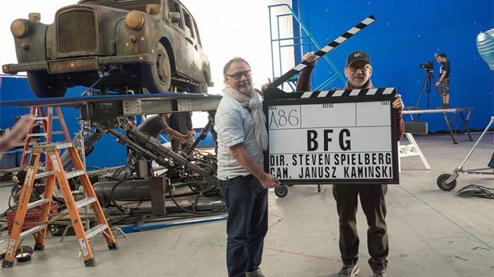 THE BFG, from left: cinematographer Janusz Kaminski, director Steven Spielberg, on set, 2016. ph: